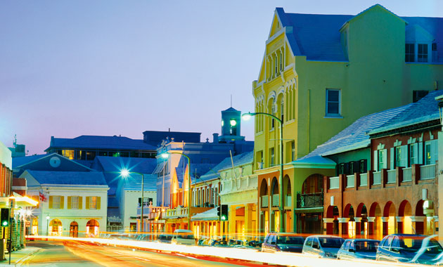Front Street in Hamilton, Bermuda is home to many 100s of companies and business offices.