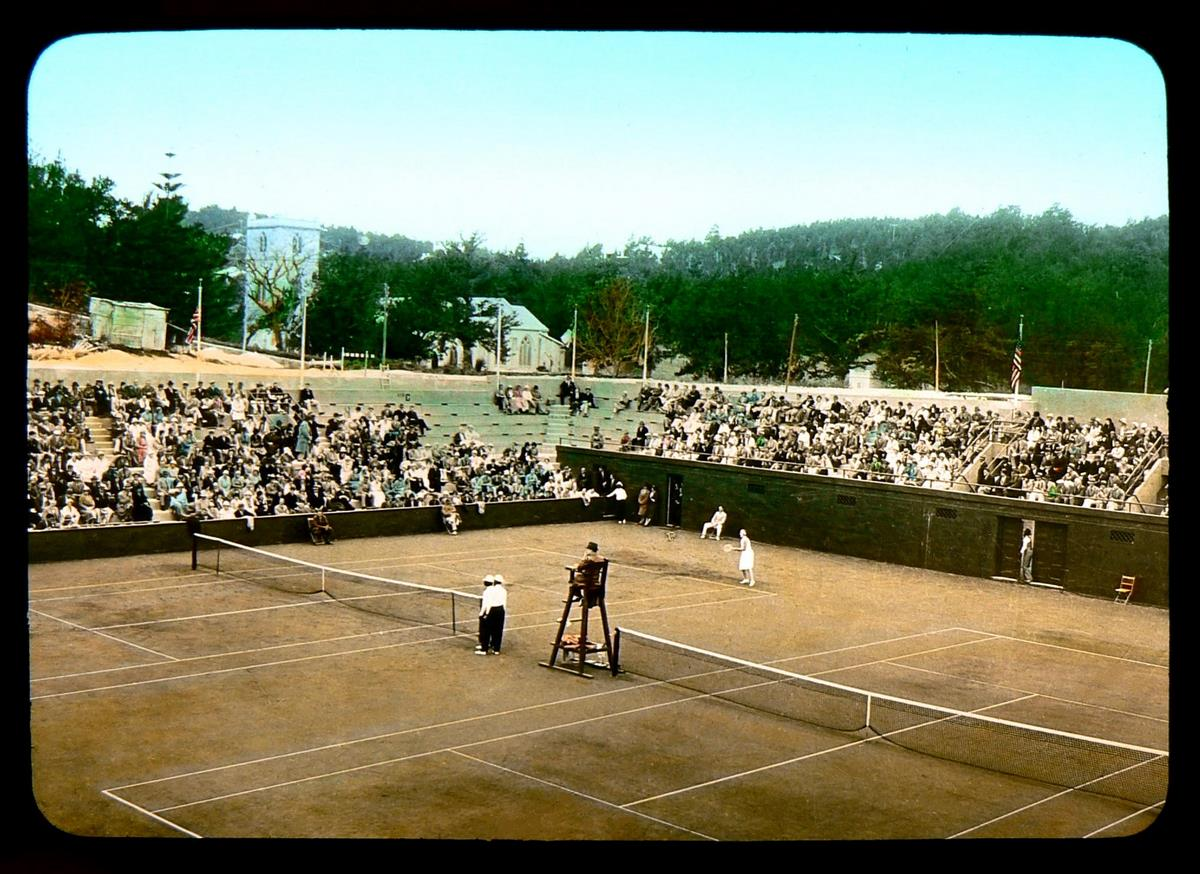 A TENNIS MATCH IN OLD BERMUDA -- Saint John's Church in the Background