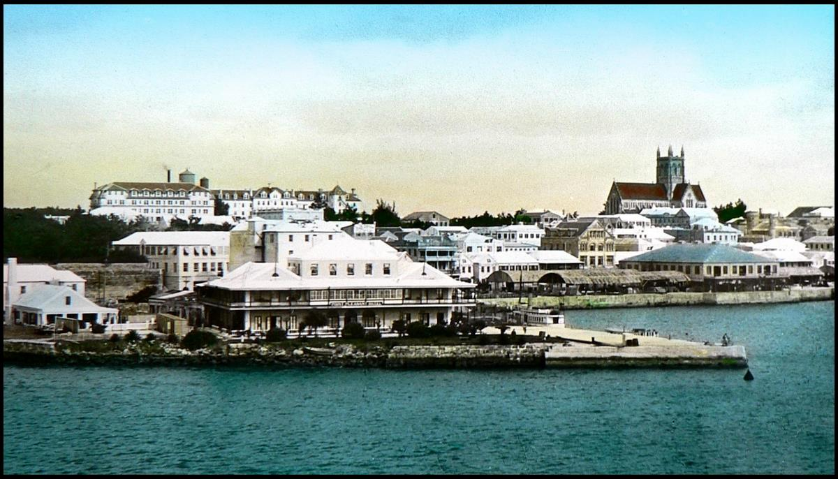 PANORAMIC SCENE OF HAMILTON HARBOR AND WATERFRONT in OLD BERMUDA