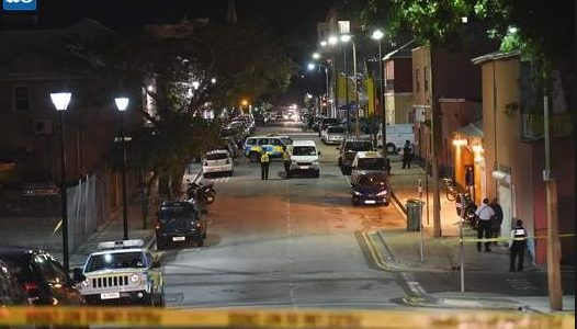 Crime scene: Court Street after police cordoned off the area (Photograph by Akil Simmons)